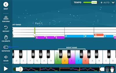 Music play view in Yousician