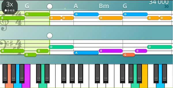 Image of Yousician's piano roll view